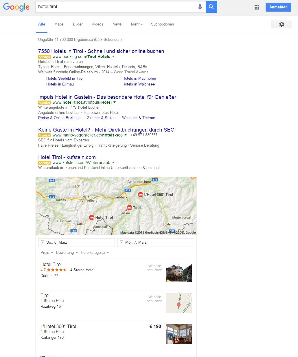 Google SERP Beispiel 4 Ads on Top