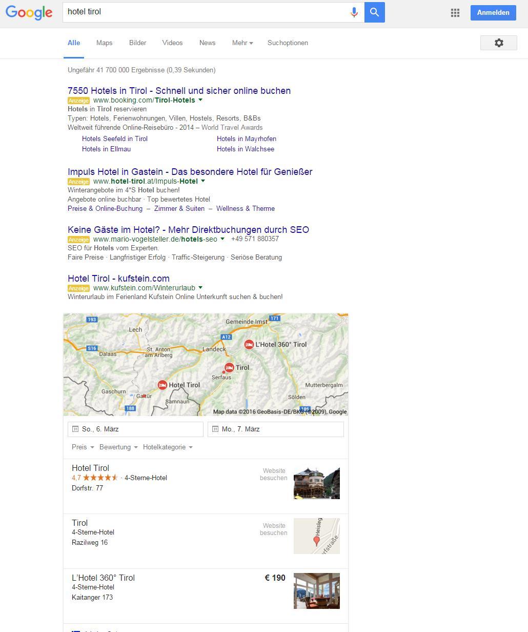 Google SERP Beispiel 4 Ads on Top