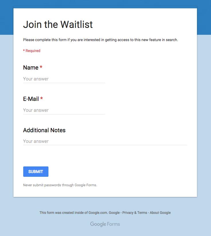 Google Podium Bewerbung